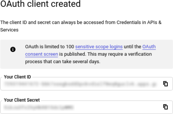 GCP Oauth2 client created
